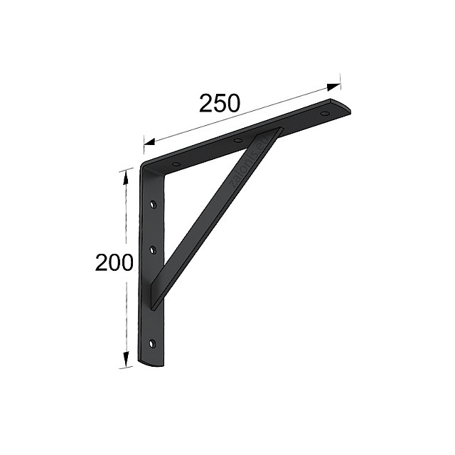 HEAVY DUTY SHELF BRACKET 250x200mm/330kg  BLACK